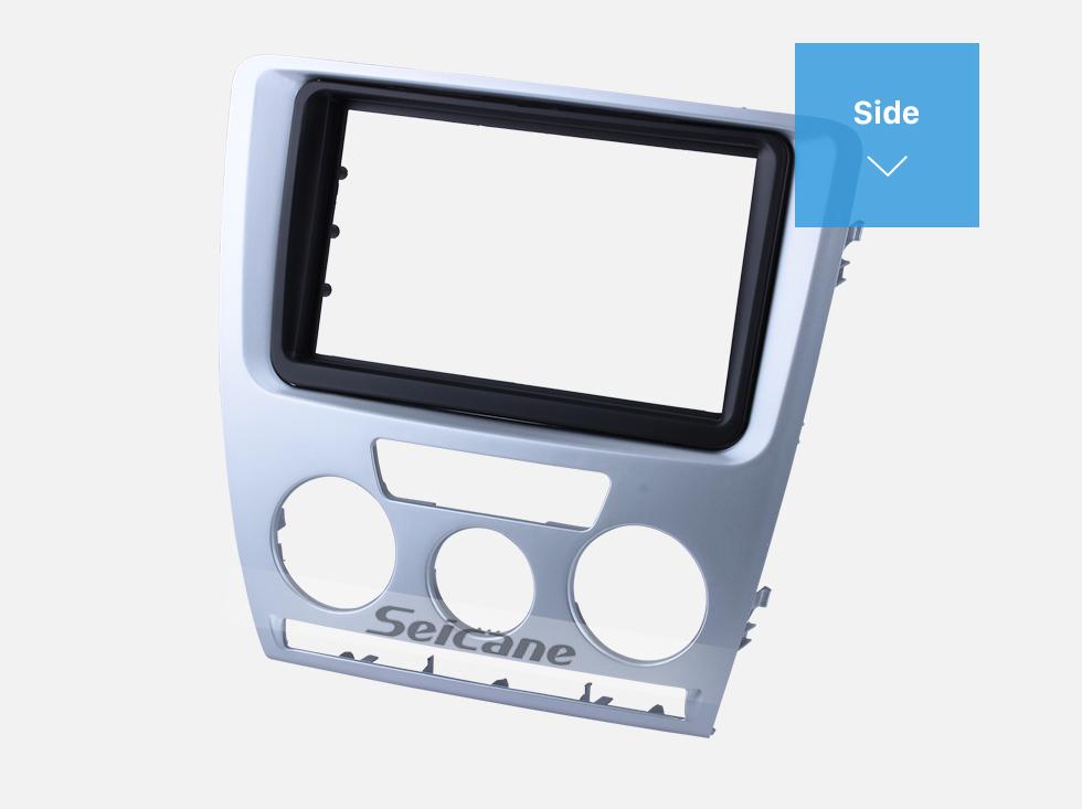 Seicane Silver 2Din Car Radio Fascia for 2007 2008 2009 Skoda Octavia Trim Surround CD Stereo Dash Decorative Frame