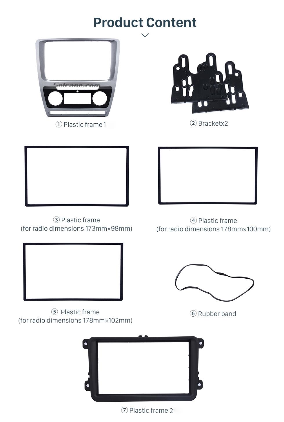 Seicane Silver Double Din Car Radio Fascia for 2010 Skoda Octavia In Dash DVD Player Outter Frame Surround Panel