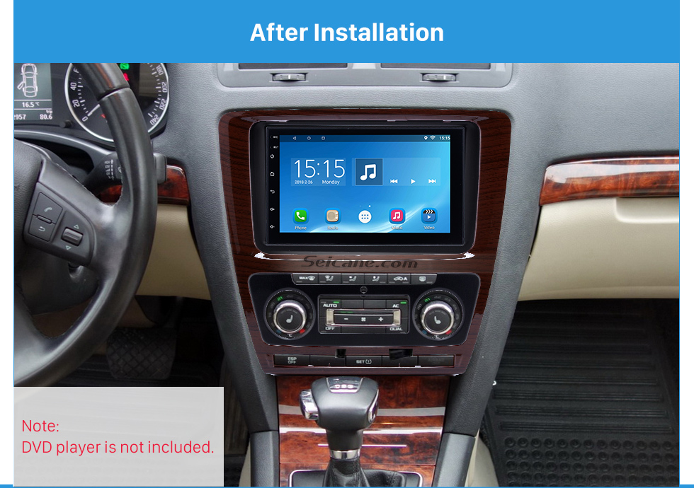 After Installation Wooden Color 2Din Car Radio Fascia for 2010 Skoda Octavia DVD Frame Face Plate Stereo Dash Fitting Adaptor
