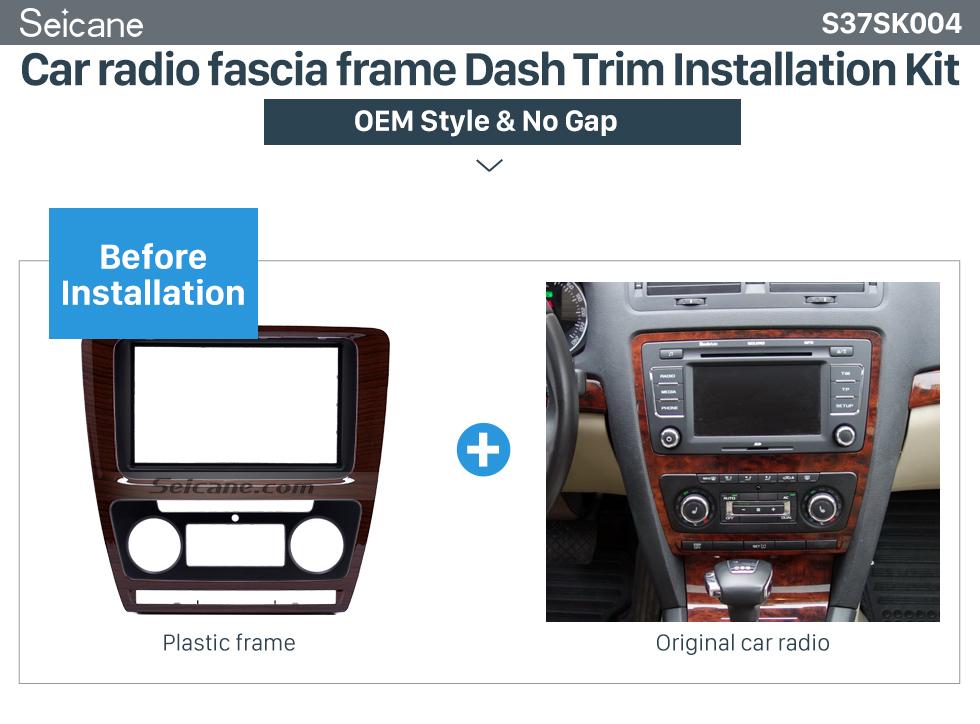 Car radio fascia frame Dash Trim Installation Kit Wooden Color 2Din Car Radio Fascia for 2010 Skoda Octavia DVD Frame Face Plate Stereo Dash Fitting Adaptor