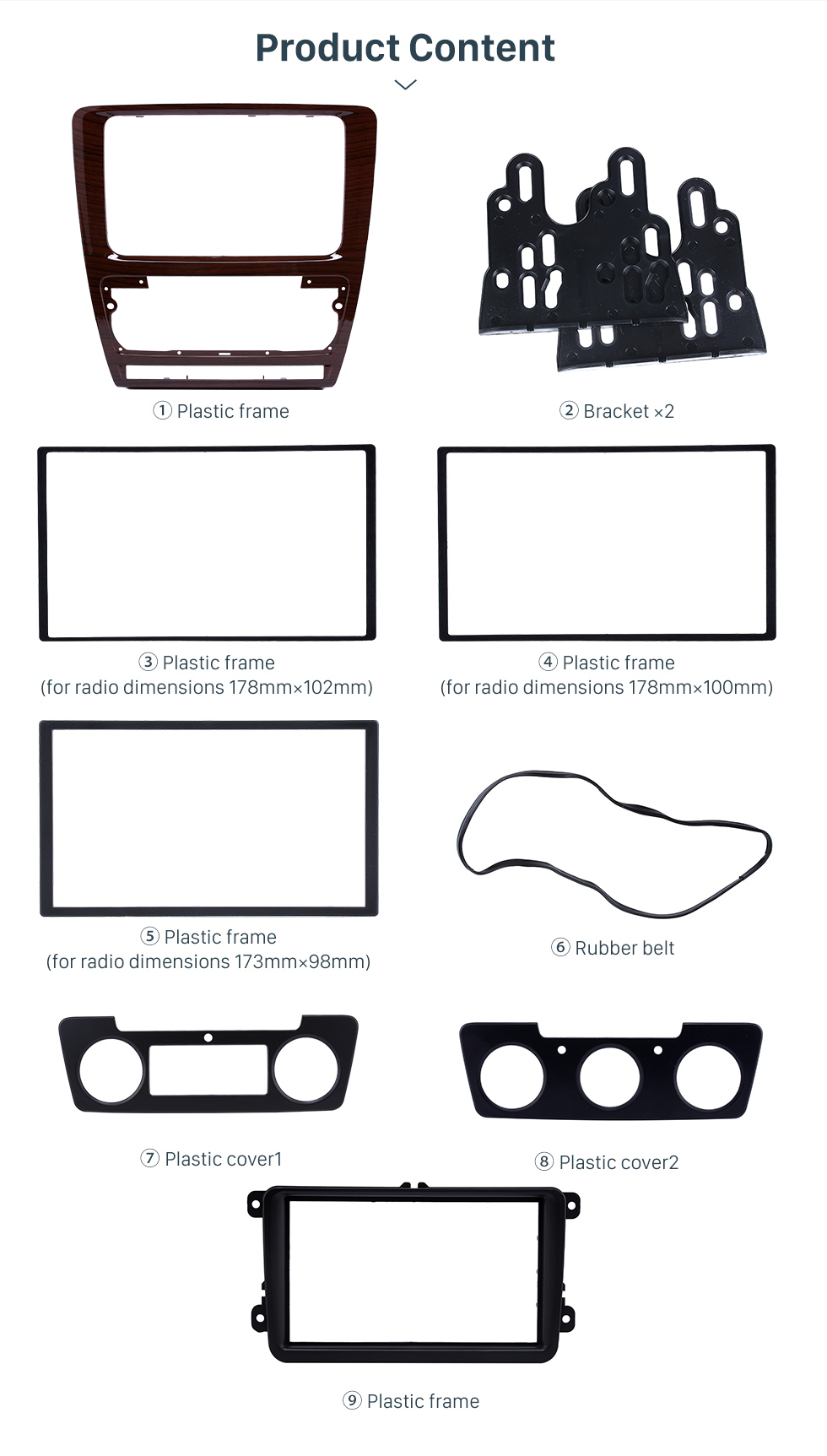 Product Content Wooden Color 2Din Car Radio Fascia for 2010 Skoda Octavia DVD Frame Face Plate Stereo Dash Fitting Adaptor