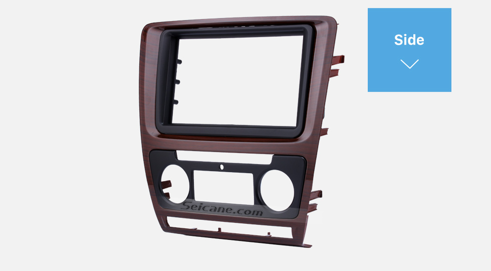 Side Wooden Color 2Din Car Radio Fascia for 2010 Skoda Octavia DVD Frame Face Plate Stereo Dash Fitting Adaptor