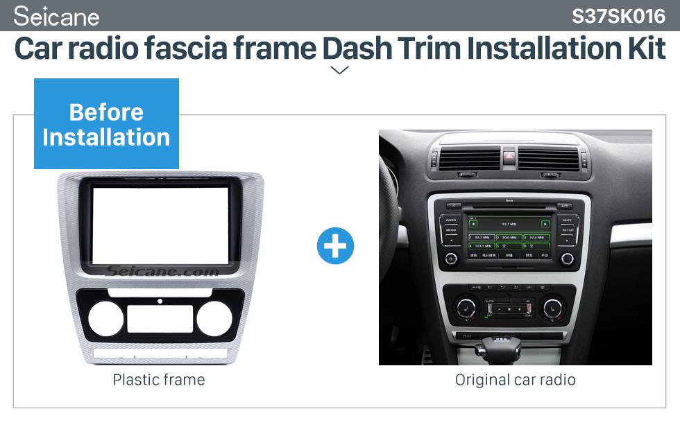 Seicane Plaid Double Din Car Radio Fascia for 2010 Skoda Octavia In Dash Auto Stereo CD Trim Installation Frame Kit