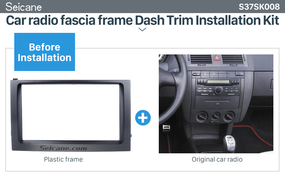 Seicane Classic Double Din Car Radio Fascia for 2003 2004 2005 2006 Skoda Fabia DVD Frame Face Plate Panel Kit Trim Installation