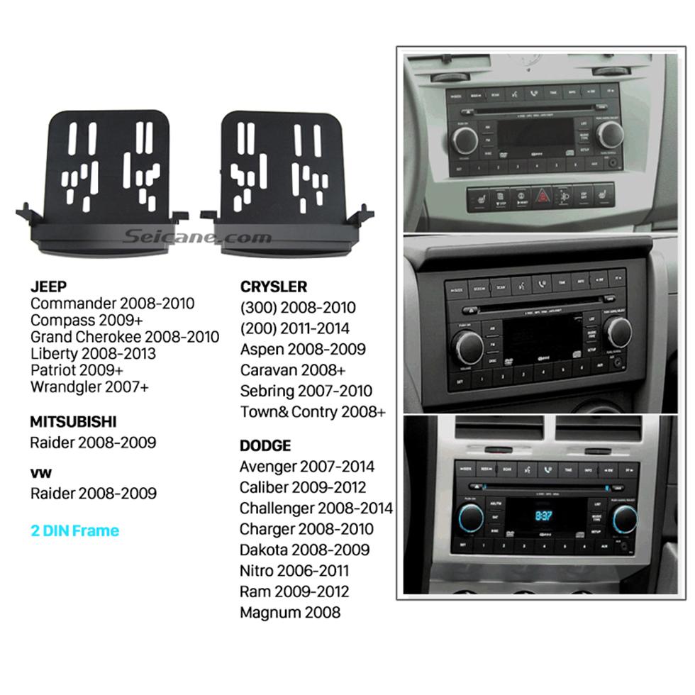 Seicane DOUBLE DIN Car Radio Fascia for 2011 CHRYSLER JEEP GRAND CHEROKEE Stereo Modified Face Frame Installation Trim Bezel Car Kit