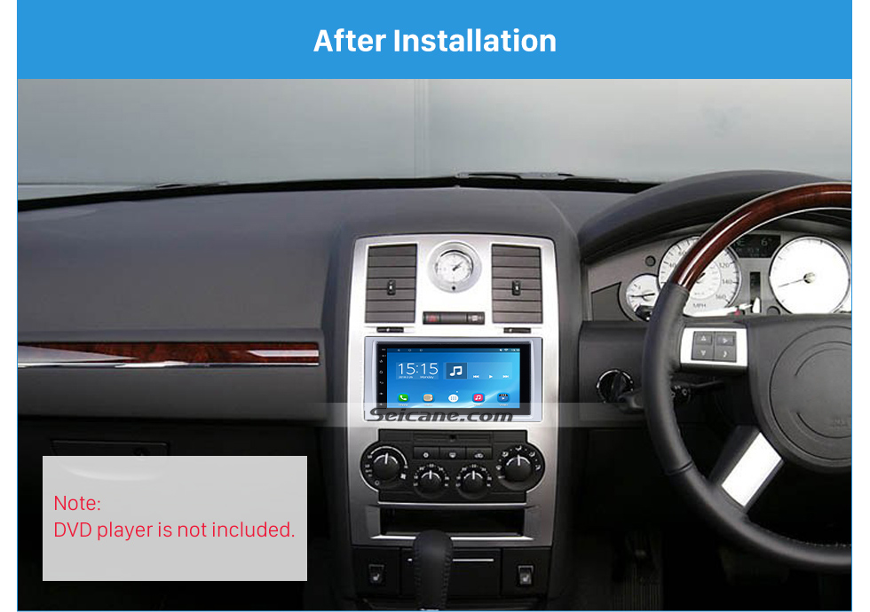 Seicane High Quality 2 DIN Car Radio Fascia for 2005-2007 CHRYSLER 300C Dash Vehicle-mounted Stereo Installation Frame Surround Trim Panel Kit