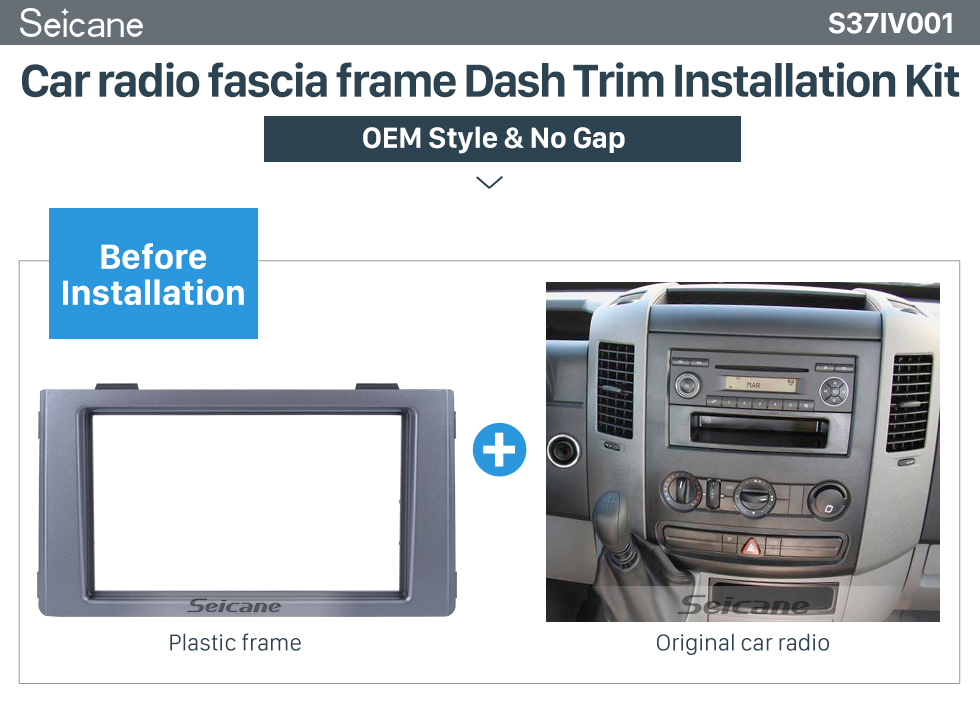 Seicane Silver Double Din Car Radio Fascia for 2009+ IVECO Dash CD Stereo Player Fitting Adaptor Frame Panel