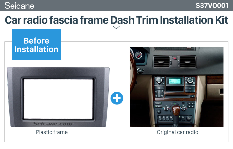Seicane Great Double Din Car Radio Fascia for Volvo XC90 DVD Panel Trim Dash Audio Fitting Adaptor Auto Stereo Frame