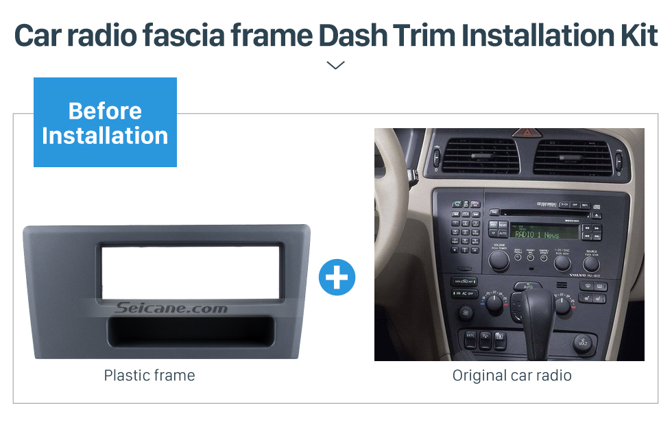 Seicane Top Quality 1Din Car Radio Fascia for 1994-2000 2002 2003 2004 Volvo XC70 V70 S60 DVD GPS Decorative Frame Trim Kit Adaptor