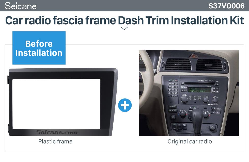 Seicane 2 Din Car Radio Fascia for 1998 1999 2000 2001 2002 2003 2004 Volvo XC70 V70 S60 Stereo Plate Trim Kit Frame Panel Dash CD