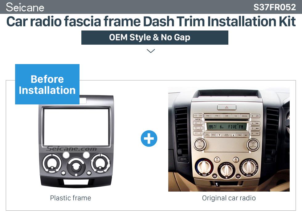 Car radio fascia frame Dash Trim Kit  2Din(Silver)  Car Radio Fascia for 2006-2010 Ford Everest Ford Ranger Mazda BT-50 Stereo Frame Interface Car Styling Dash Kit
