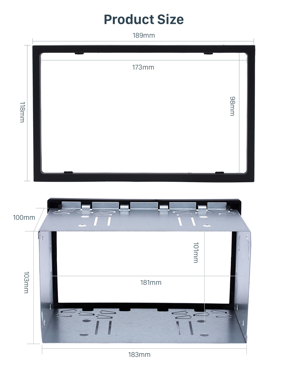 Seicane 173 * 98mm Doble Din Universal Car Radio Fascia Kit de instalación Stereo Frame Panel Dash Kit