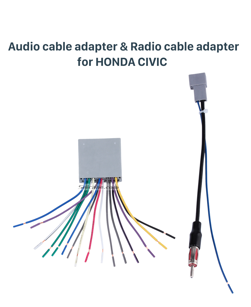 Audio Cable adapter & Radio cable adapter for HONDA CIVIC Top Wiring Harness Adapter Audio Cable and Radio Antenna Cable for HONDA CIVIC