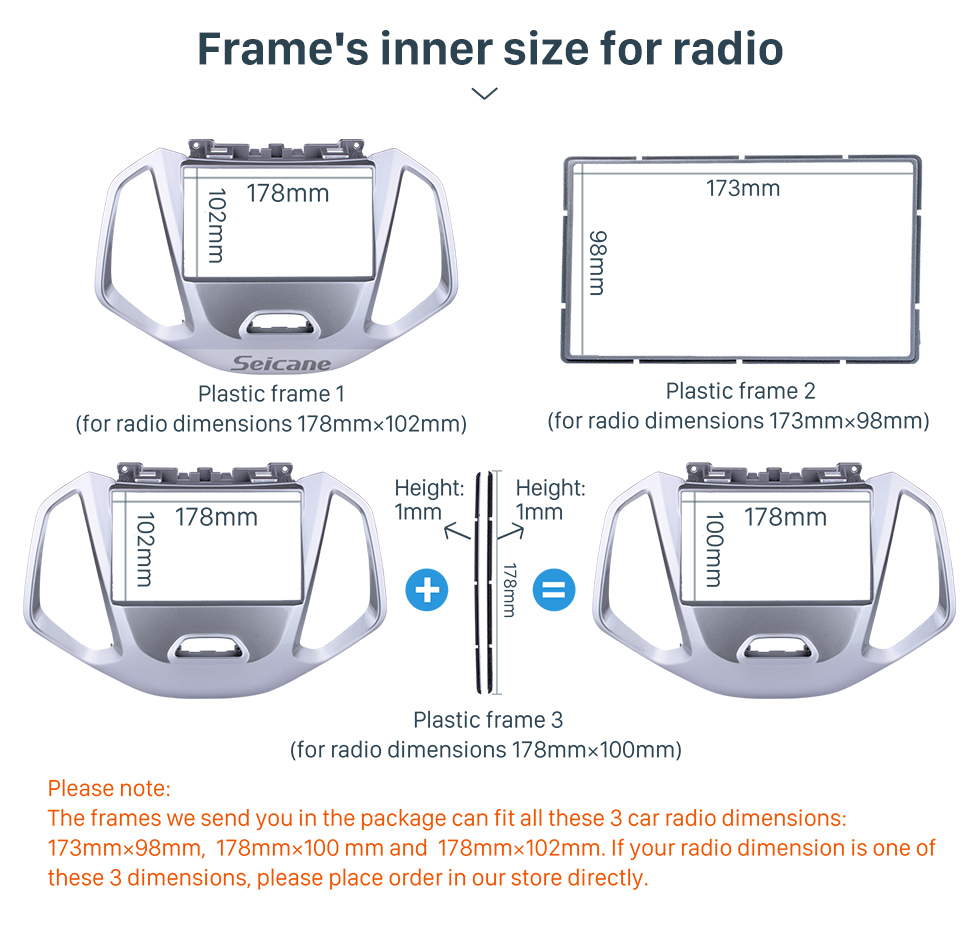 Seicane 2 Double Din Car Stereo Radio Fascia Panel Dash Bezel Kit Install Frame For 2017+ FORD ECOSPORT No Gap OEM Style