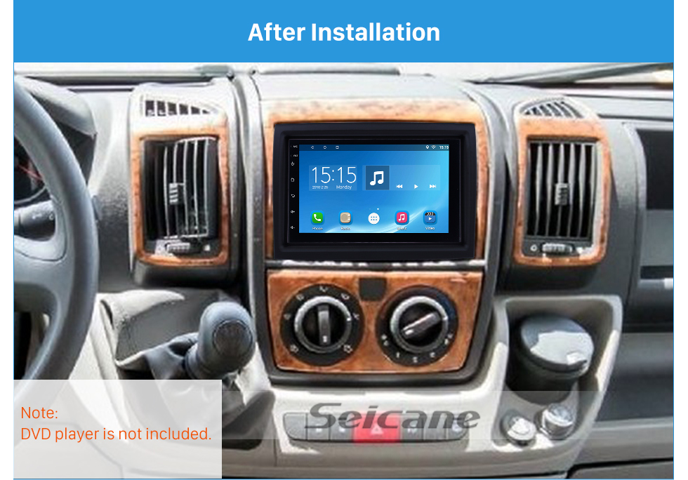 Seicane In Dash Car Stereo Radio Fascia Panel Install Frame Dash Bezel Trim kit Cover Trim For 2006-2016 FIAT DUCATO LOW-END Double DIN OEM Style