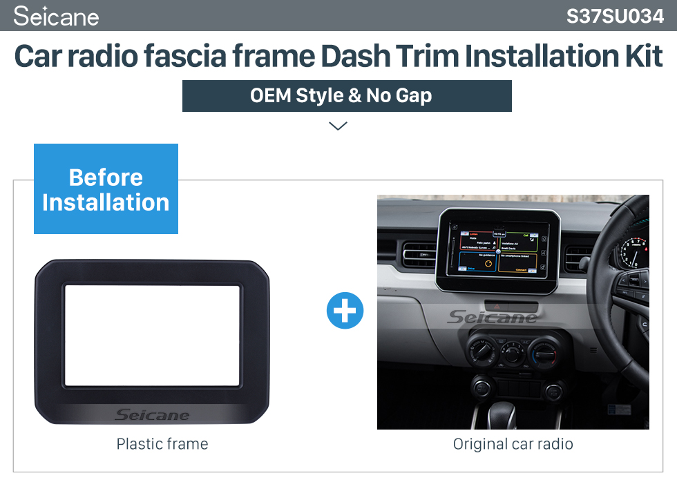 Seicane 2 Double Din Car Stereo Radio Fascia Panel Dash Bezel Kit Install Frame For 2017+ SUZUKI IGNIS No Gap OEM Style