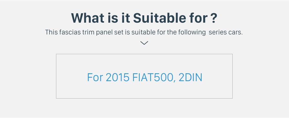 Seicane 2 DIN Car Radio Fascia Stereo Frame Install Dash Bezel Trim Kit Cover Trim For 2015 FIAT 500 (UV BLACK) OEM style No gap