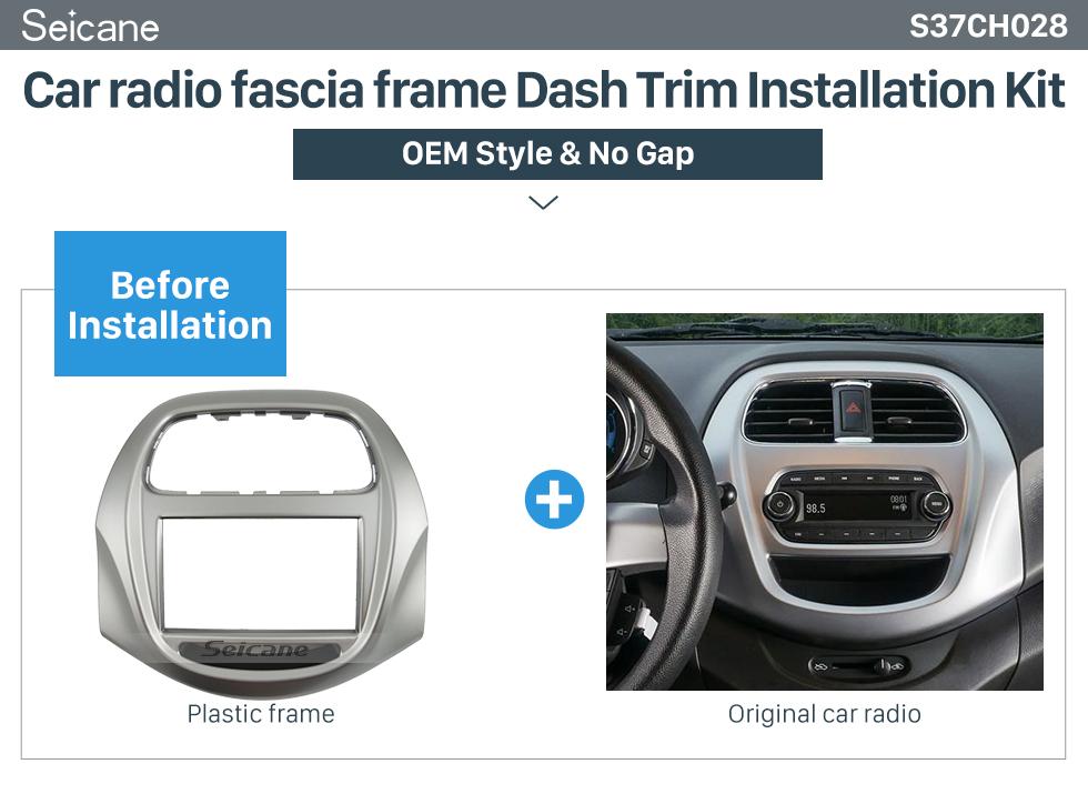 Seicane Double Din Car Radio Fascia frame Dash Trim installation Kit For 2018+ Daewoo Matiz Chevrolet Spark Baic Beat OEM style No gap