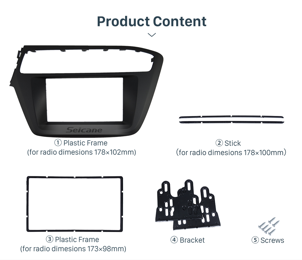 Seicane 2 Double DIN In Dash Car Stereo Radio Fascia Panel Trim Frame Installation Kit For 2018 HYUNDAI i-20 LHD OEM Style No Gap