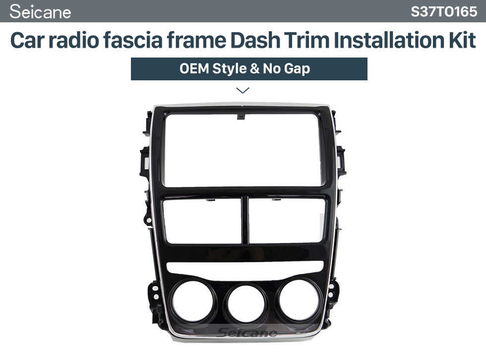 Seicane In Dash Car Stereo Fascia Panel Radio Install Frame Dash Bezel Trim kit Mount Kit For 2017 TOYOTA YARIS(LHD, LOW-END, UV BLACK) 2 Double DIN No Gap