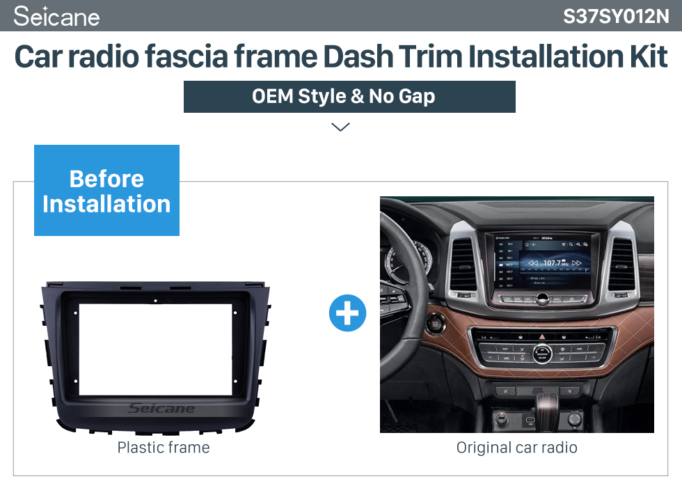 Seicane In Dash 2 din Fascia Panel Bezel Trim kit Cover Trim For 9 inch 2018 SSANG YONG REXTON OEM Style