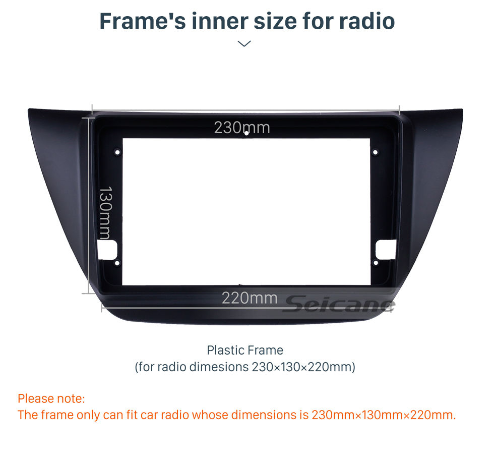 Seicane Double Din 9 inch 2006 MITSUBISHI LANCER IX Car Radio Fascia Frame Dash Mount Kit Trim Panel