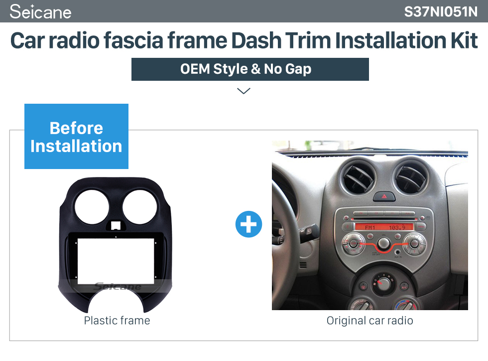 Seicane OEM style 9 inch 2010 NISSAN MARCH Fascia Frame Panel in Dash Trim Installation Mount Kit