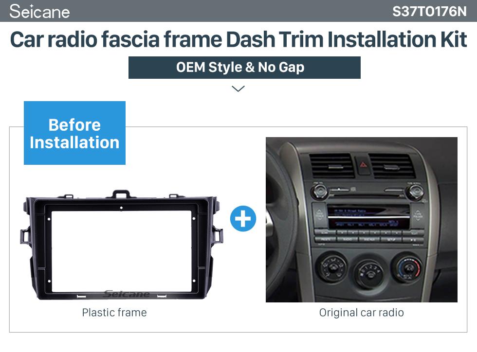 Seicane Silver Frame for 9 inch 2008-2010 Toyota Corolla Audio Dash Trim Fascia Panel Kit