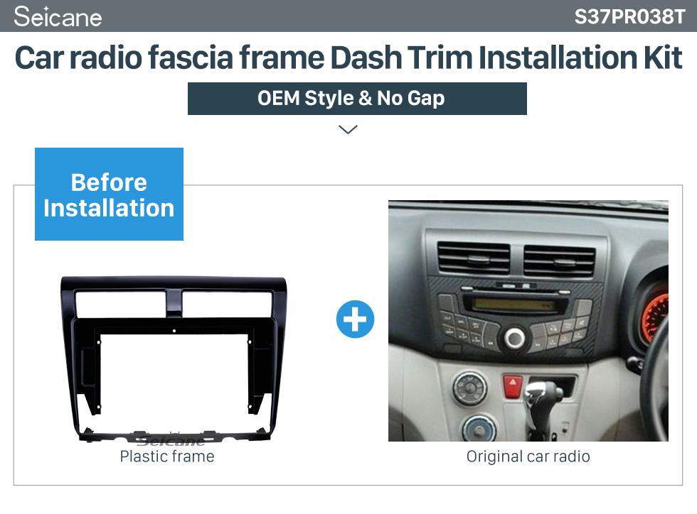 Seicane UV Black Frame for 10.1 inch 2012 PROTON MYVI Audio Dash Trim Fascia Panel Kit