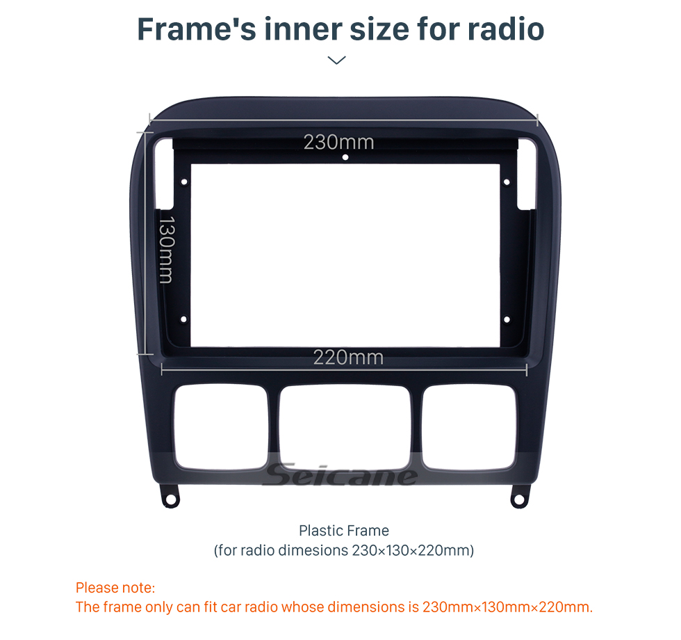 Seicane Fascia Panel Install Dash Bezel Trim Mount Kit For 9 inch 2006 BENZ S CLASS W220 OEM style No gap