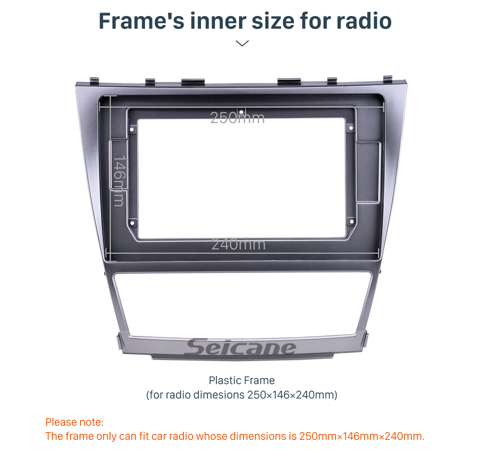 Seicane Double Din 10.1 inch 2006-2011 TOYOTA CAMRY Fascia Frame Dash Mount Kit Trim Panel