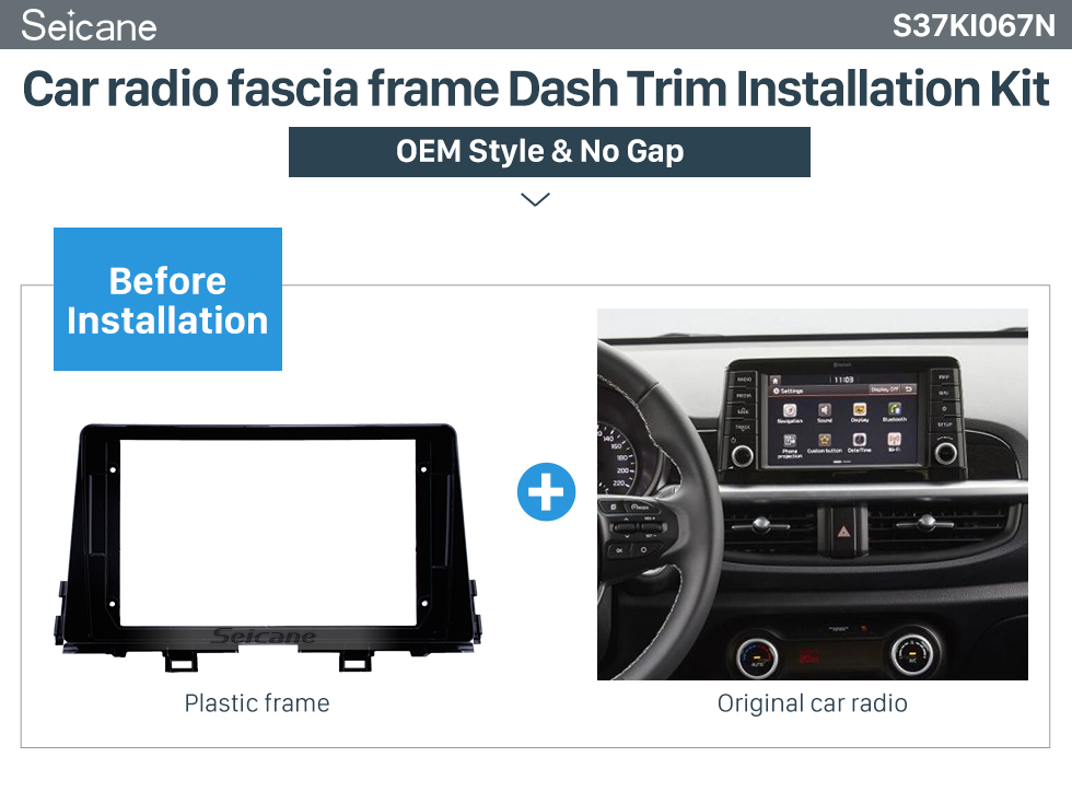Seicane In Dash Car Radio Fascia Panel Bezel Trim kit Cover Trim For 9 inch 2016 KIA MORNING OEM Style