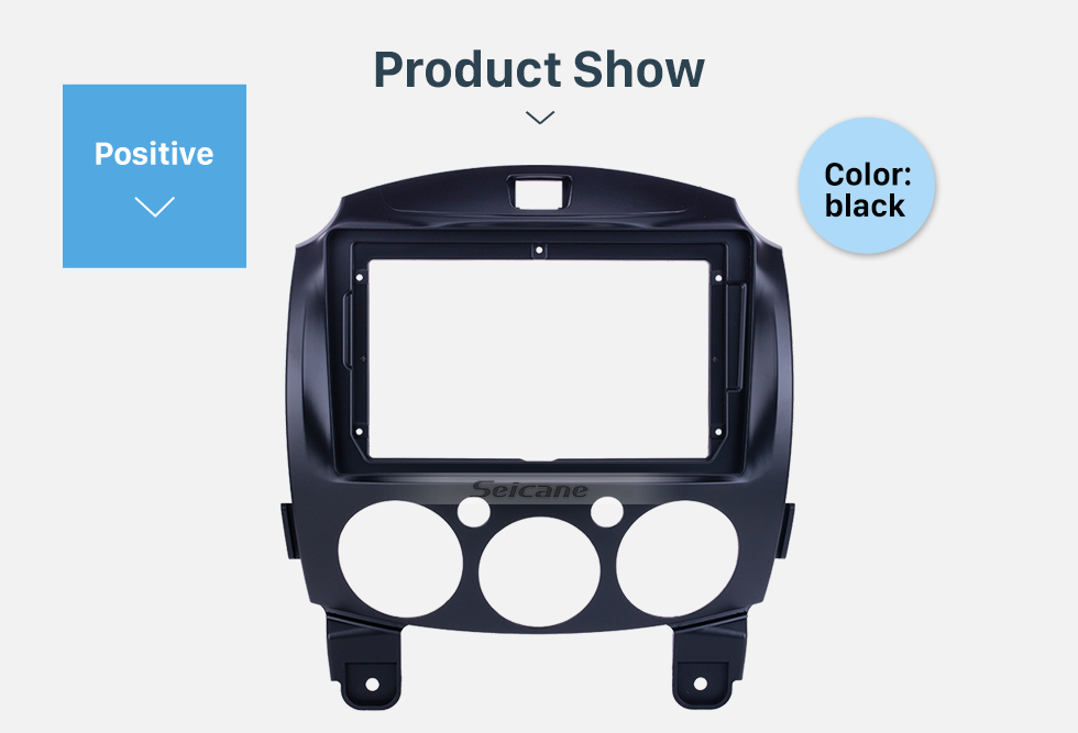 Seicane Fascia Black Frame for 9 inch 2007-2014 MAZDA 2/Jinxiang/DE/Third generation Dash Mount Kit Trim Panel No gap