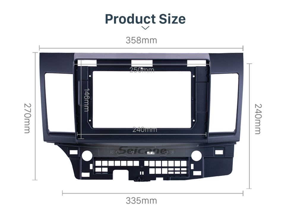 Seicane Double Din For 10.1 inch 2008-2015 MITSUBISHI LANCER-EX/ FORTIS Fascia Black Frame Dash Mount Kit Trim Panel