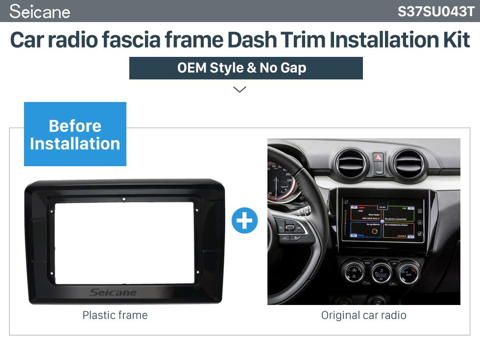 Seicane UV Black Frame for 10.1 inch 2018 SUZUKI SWIFT Audio Dash Trim Fascia Panel Kit