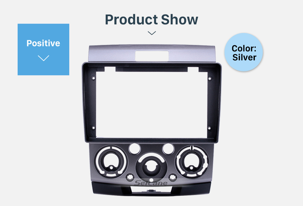Seicane Silver Frame 9 inch for 2006-2010 Ford Everest/ Ford Ranger/ Mazda BT-50 Audio Dash Trim Fascia Panel Kit