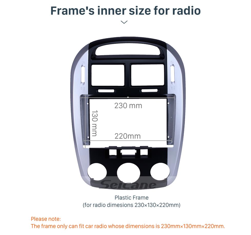 Seicane Silver Frame for 9 inch 2006 Kia Cerato Audio Dash Trim Fascia Panel Kit