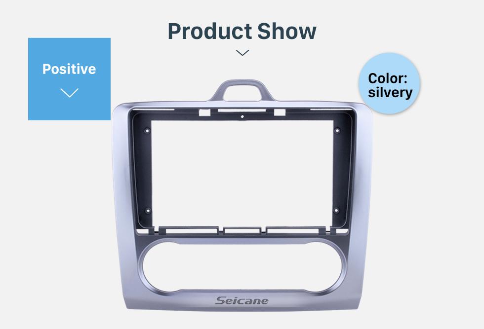 Seicane Fascia Silver Frame 9 inch for 2009 FORD FOCUS Dash Mount Kit Trim Panel No gap