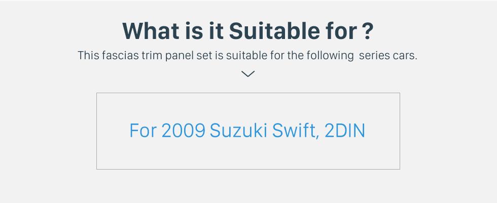 Seicane Fascia Black Frame 10.1 inch for 2009 SUZUKI SWIFT Dash Mount Kit Trim Panel No gap