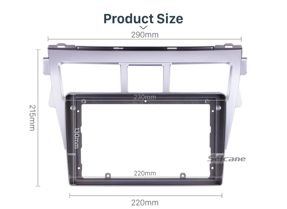 Seicane Fascia Silver Frame for 9 inch 2007-2012 TOYOTA VIOS Dash Mount Kit Trim Panel No gap