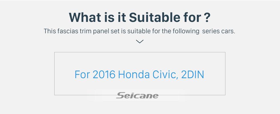 Seicane Black Frame for 9 inch 2016 HONDA CIVIC Audio Dash Trim Fascia Panel Kit