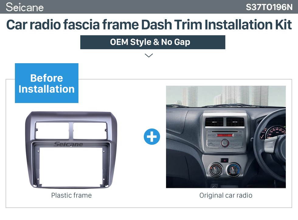 Seicane Silver Frame for 2013-2019 Toyota AGYA/WIGO Audio Dash Trim Fascia Panel Kit