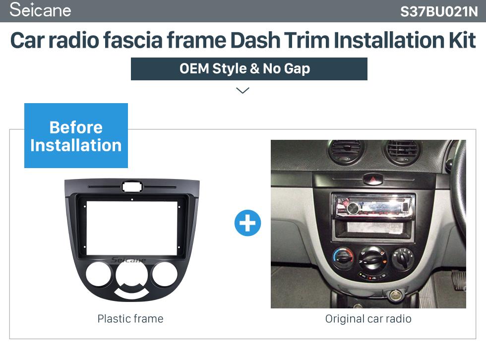 Seicane Double Din pour 9 pouces 2008 Suzuki Splash Ritz Fascia Black Frame Dash Mount Kit Trim Trim Panel