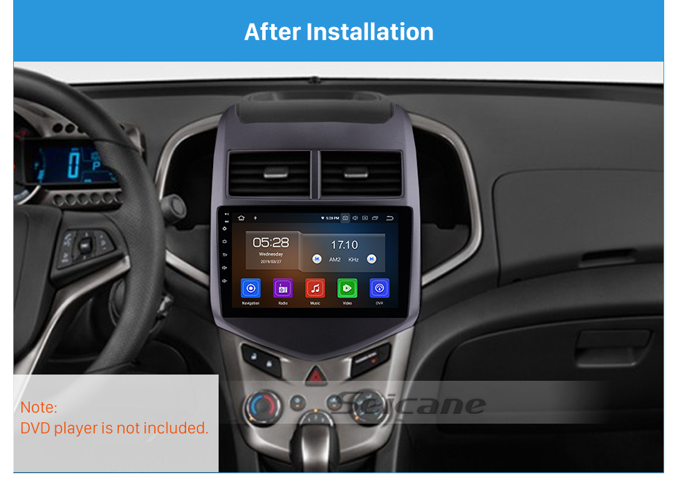 Seicane Grey Frame for 9 inch 2010-2013 Chevy CHEVROLET AVEO Audio Dash Trim Fascia Panel Kit