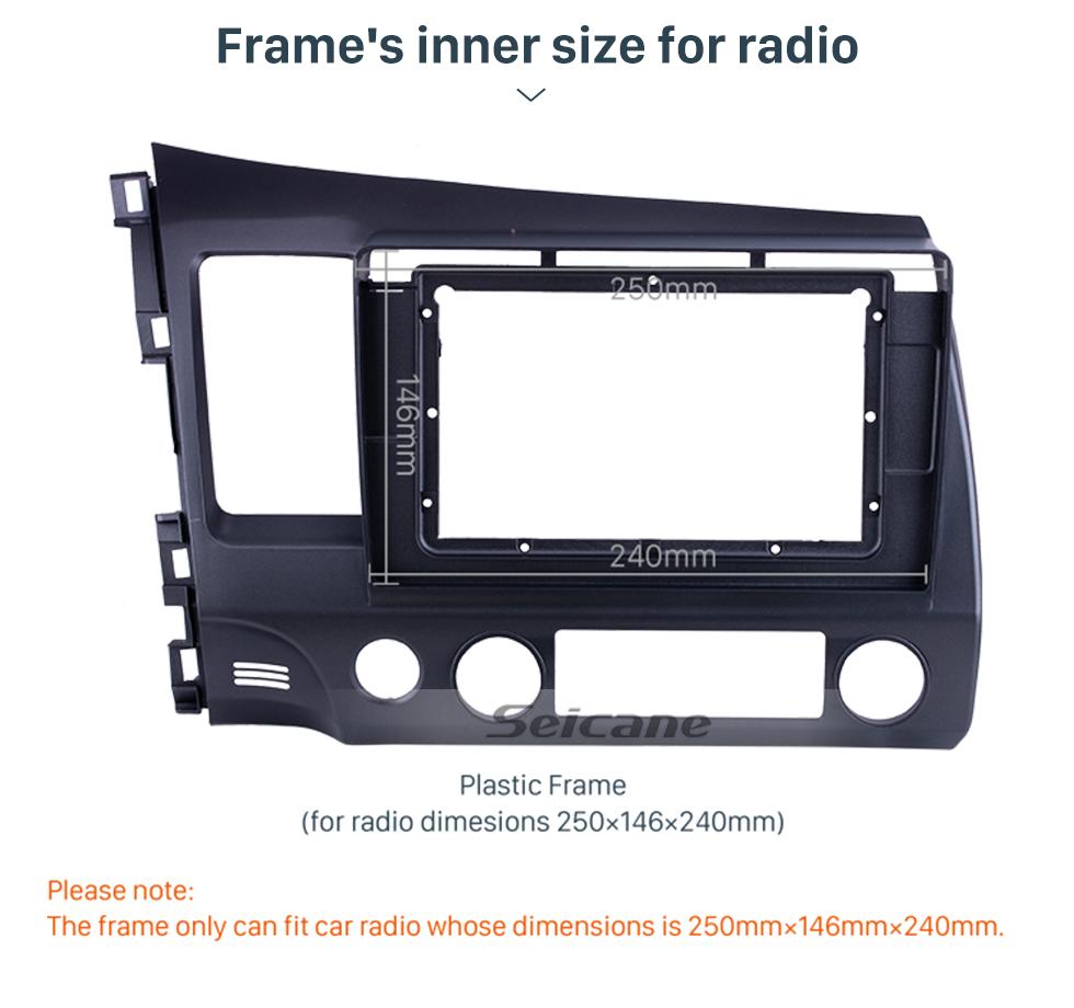 Seicane Fascia Black Frame for 10.1 inch 2006-2011 HONDA CIVIC LHD Dash Mount Kit Trim Panel No gap