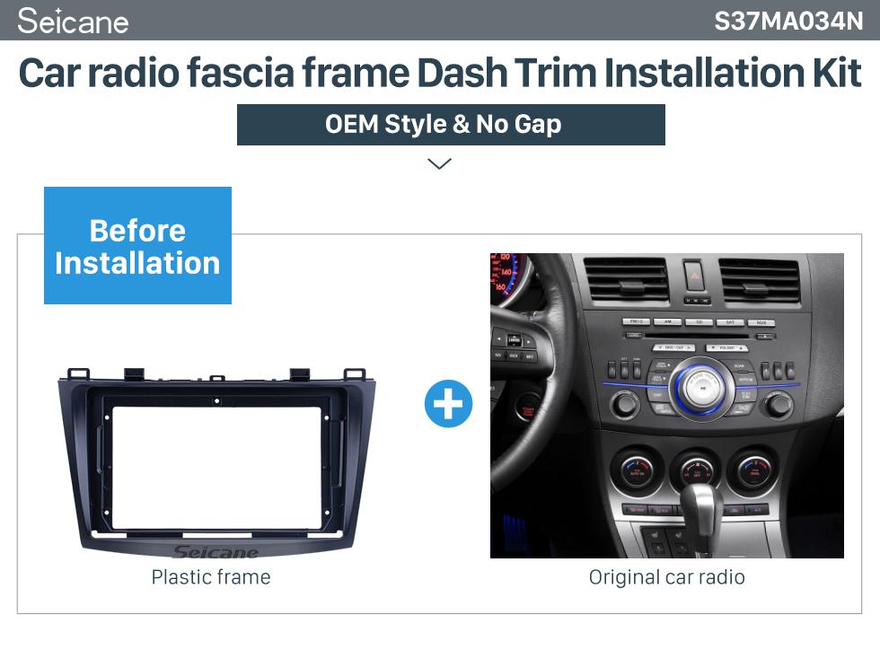 Seicane Fascia Black Frame for 9 inch 2009-2012 MAZDA 3 Dash Mount Kit Trim Panel No gap