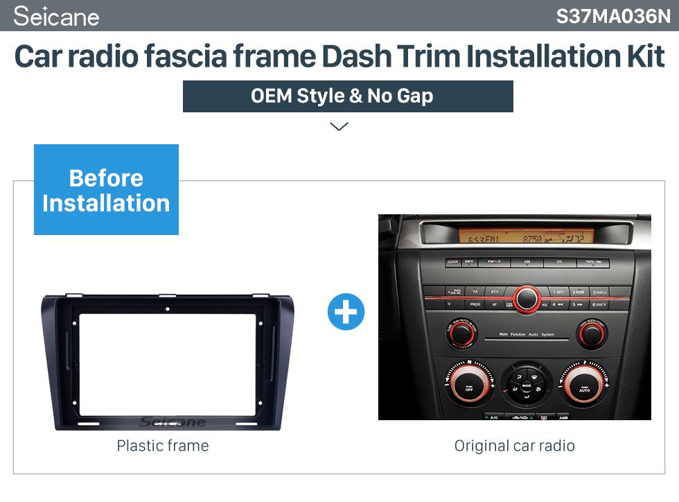 Seicane Black Frame for 9 inch 2004-2009 MAZDA 3/ AXELA Audio Dash Trim Fascia Panel Kit