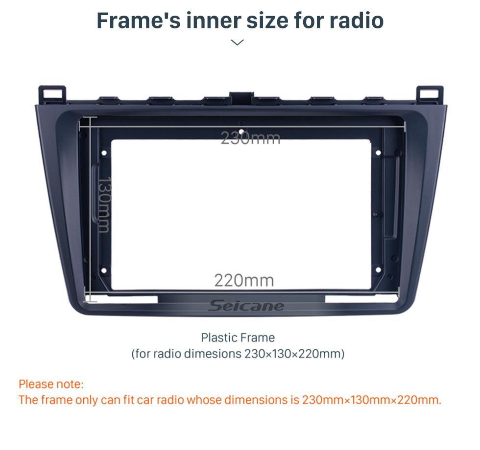 Seicane Fascia Black Frame for 9 inch 2008-2015 MAZDA 6/ Rui wing Dash Mount Kit Trim Panel No gap