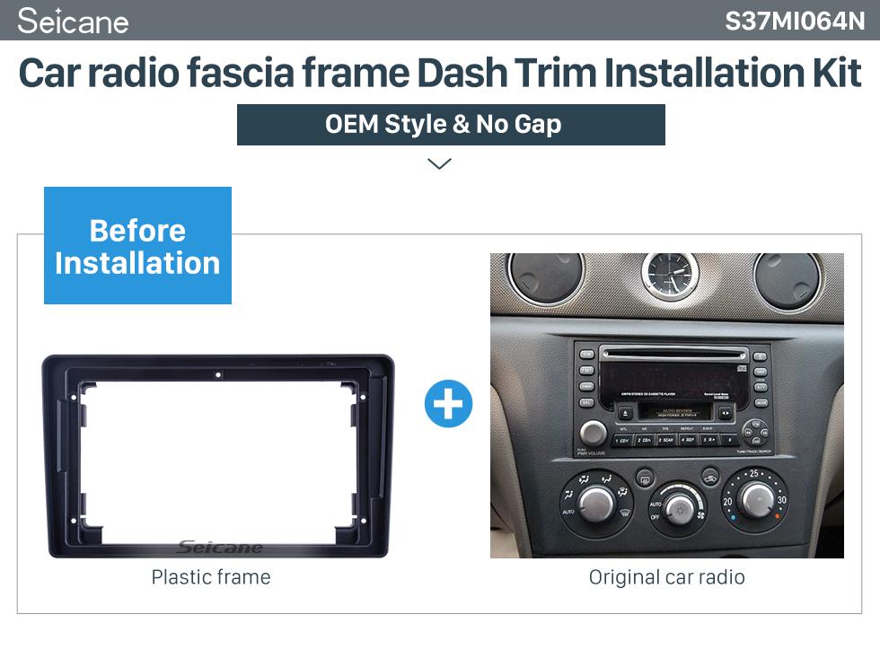 Seicane Fascia Black Frame 9 inch for 2004-2008 MITSUBISHI OUTLANDER Dash Mount Kit Trim Panel No gap