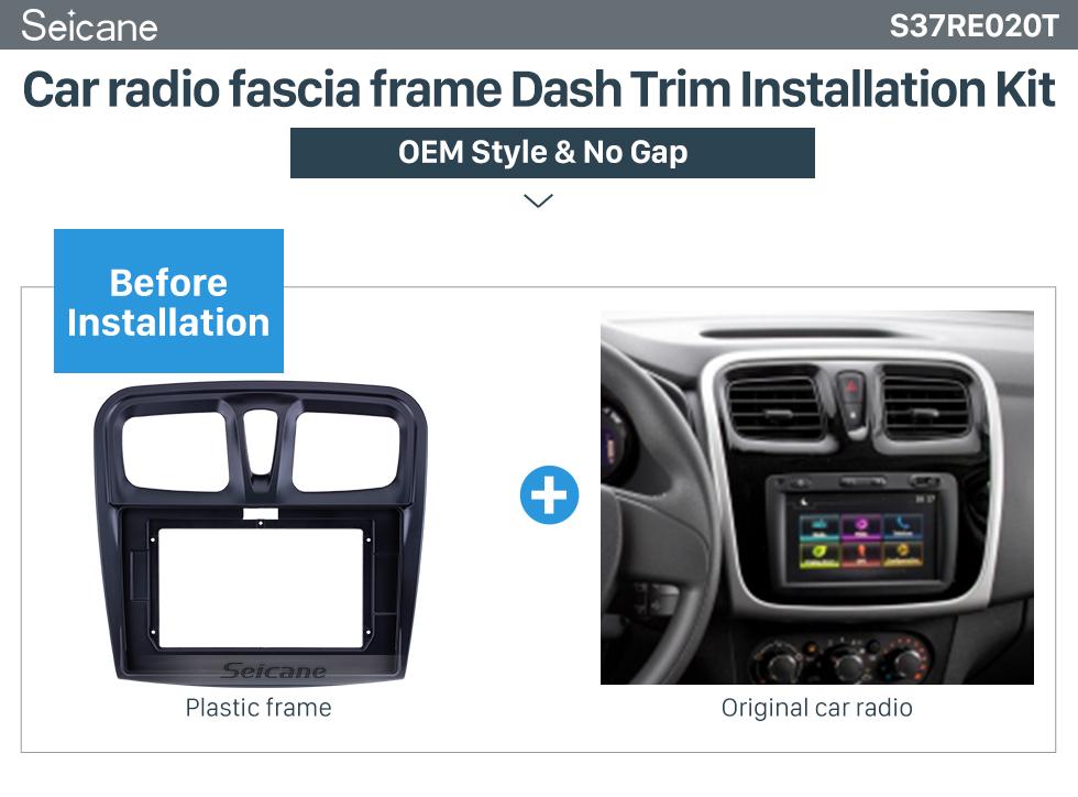Seicane In Dash Fascia Panel Bezel Trim kit Cover Trim 10.1 inch For 2015-2018 RENAULT SANDERO/LOGAN OEM Style